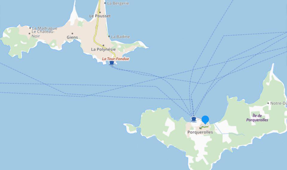 Mappa Porquerolles con indicazione del tragitto percorso dal traghetto che collega la Tour Fondue a Porquerolles