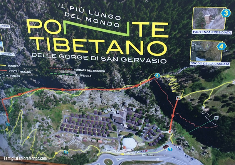 Cartina dei percorsi area Ponte Tibetano di Claviere
