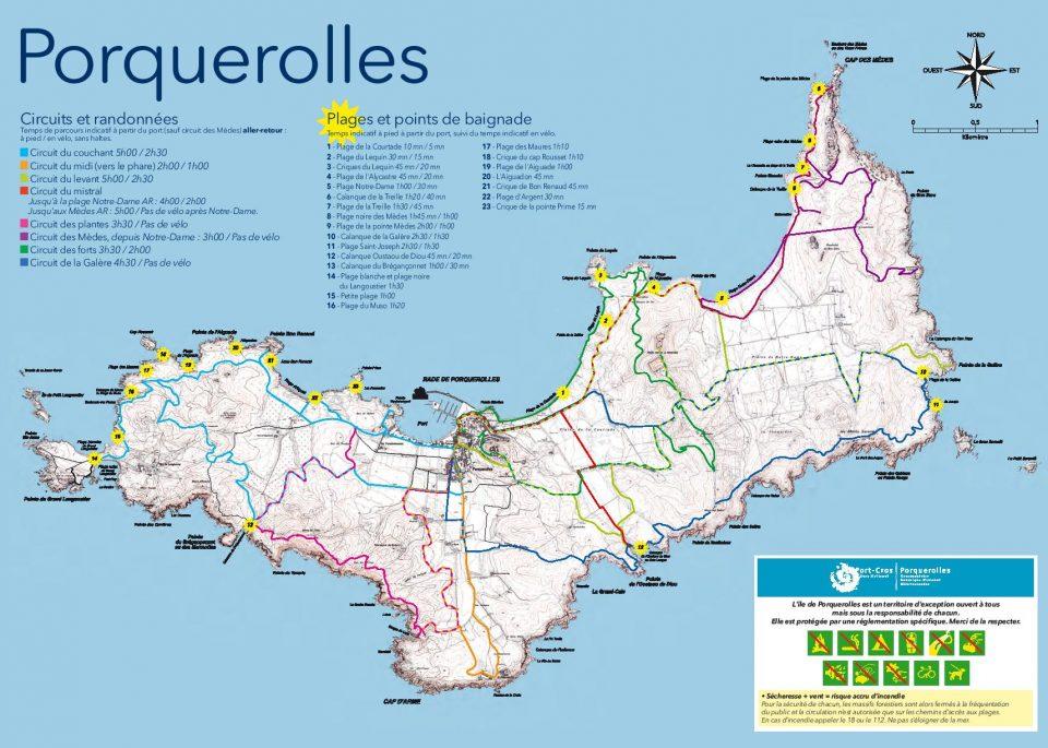 Mappa dei circuiti ciclabili e percorribili a piedi di Porquerolles