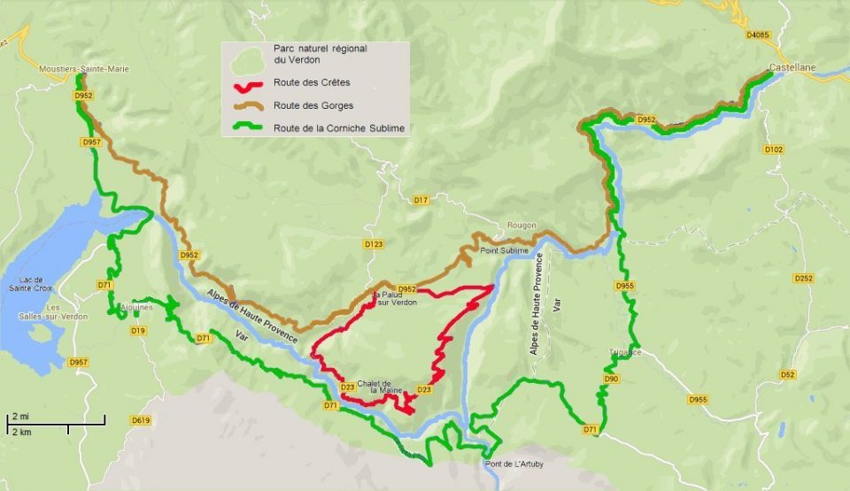 Mappa delle routes panoramiche del Verdon
