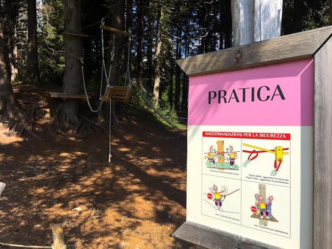 Ingresso al briefing del parco avventura San bernardino