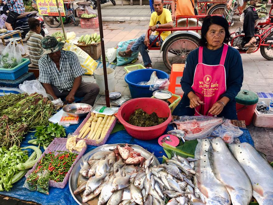Mercato locale ad Uthai Thani, località di passaggio de nostro itinerario in Thailandia