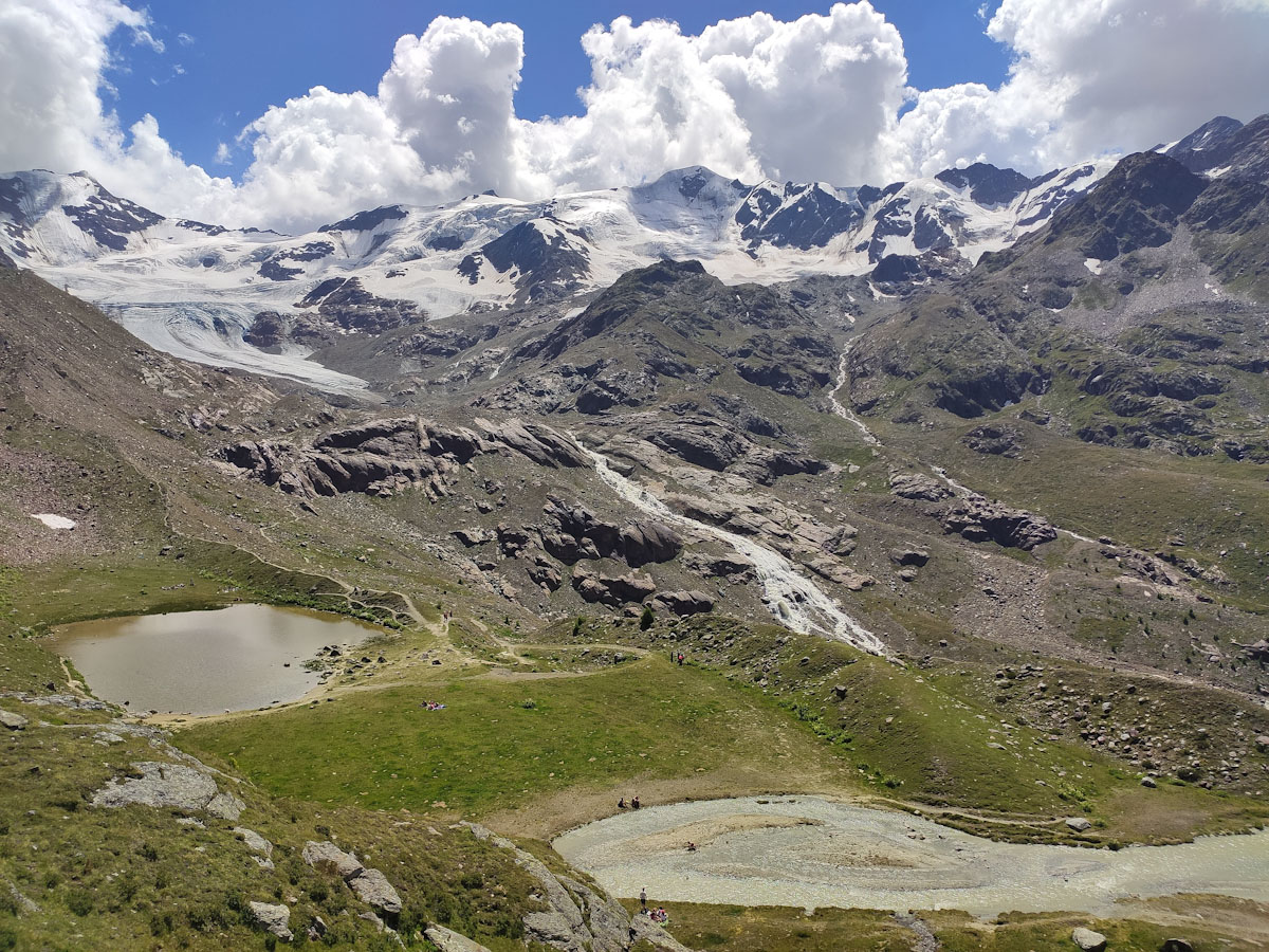 Panorama dal Rifugio Branca sul ghiacciaio Forni