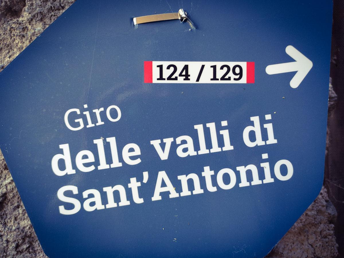 Indicazioni per il giro delle Valli di Sant'Antonio