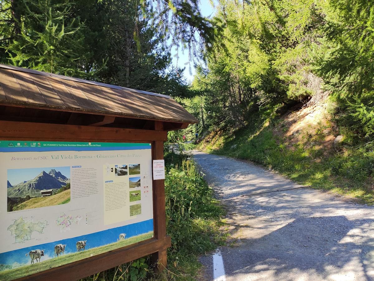 Inizio sentiero Val Viola Bormina