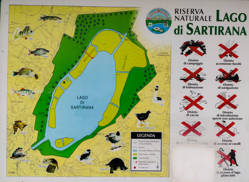 mappa del Lago di Sartirana e divieti