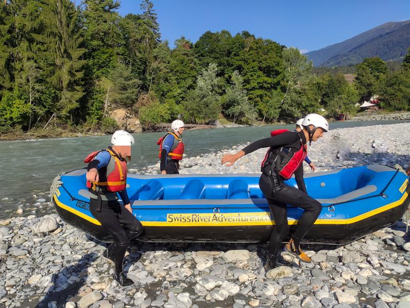Approdo rafting sul Reno Anteriore con Swiss River Adventures