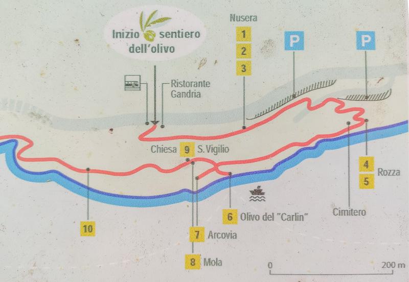 mappa sentiero dell'olivo a Gandria