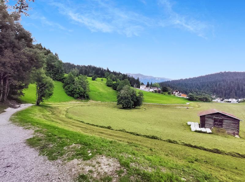 Sentiero da Torre Dimplaun a fermata dello shuttle per Laax Dorf